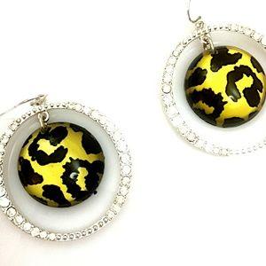 NWOT Animal Print Medallion Crystal Hoop Earrings